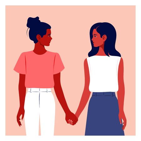 Two girls hold hands. Girlfriends. Two schoolgirls are looking at each other. Teenagers and students. Sisterhood. Feminism. Vector flat illustration 向量圖像