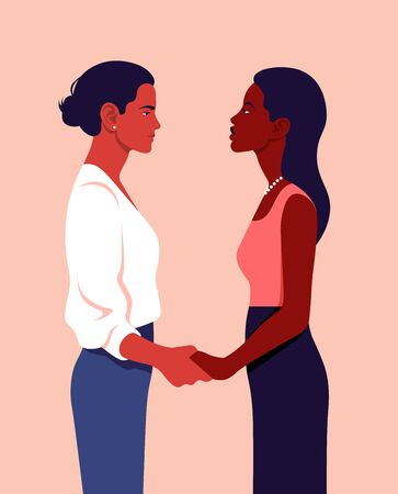 Two women stand in profile and hold hands. Feminism. Sisterhood. Community of girls of different nations. Vector flat illustration Ilustracja