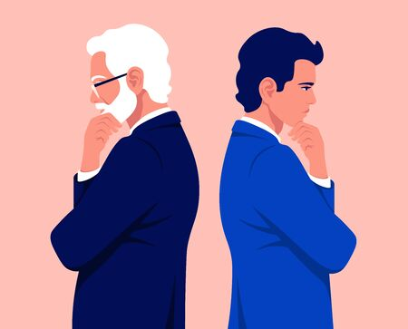 Two businessmen are standing in profile. A guy in a business suit is thinks. An old man with gray hair is make a decision. Problems. Vector flat illustration 向量圖像