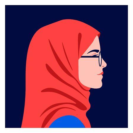 Perfil de una niña musulmana. Vista lateral de un estudiante árabe con pañuelo en la cabeza. Avatar de un adolescente con gafas. Ilustración vectorial plana