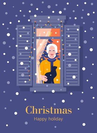 Happy old woman with a cat in the window. Christmas holidays. Neighborhood. Grandmother. New Year. Winter snowfall. Postcard. Vector flat illustration