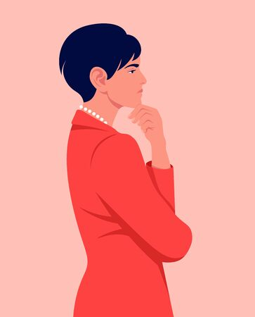 Portrait of a business woman in profile. Problems and solutions. Search for an idea. Vector flat illustration
