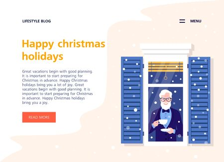 Happy old man with a cup in the window. Christmas holidays. Neighborhood. Grandfather. Winter snowfall. Landing page and website template. Vector flat illustration
