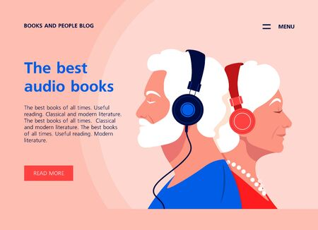 Old people listen to music on headphones. Music therapy. Grandparents profiles. Landing page and website template. Vector flat illustration