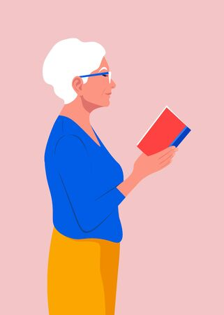 An old woman stands in profile and holds a book in her hands. Grandmother in glasses reading a book. Vector flat illustration