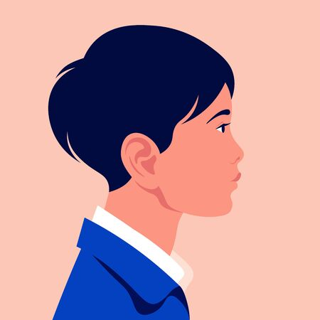 Head of a little Asian boy in profile. The face of a child on the side. Portrait. Avatar Vector flat illustration  イラスト・ベクター素材