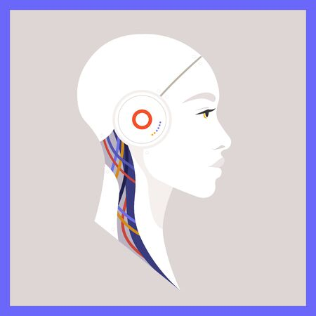 Artificial Intelligence. The head of the robot in profile. Avatar Future technologies. Vector flat illustration