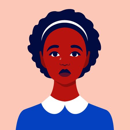 Portrait of a sad girl. Schoolgirl avatar. Face of an African child. An orphan. Vector flat illustration