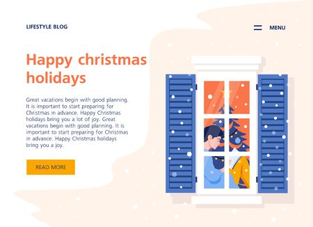 Reading girl in the window. New year in a city apartment. Neighborhood. Christmas holidays with books. Website Template and Landing Page. Vector flat illustration