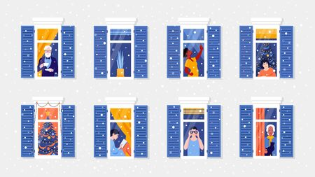 People in window frames. Neighbors that live in apartments. Christmas snowfall. New year celebration. The facade of the house. Vector flat illustration