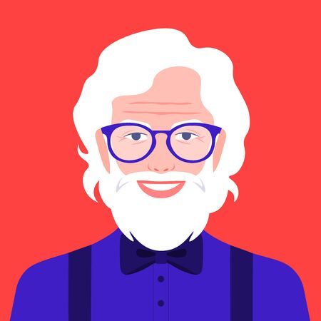 Portrait of an old man with beard and eyeglasses. Avatar happy grandfather. Social networks. Vector flat illustration