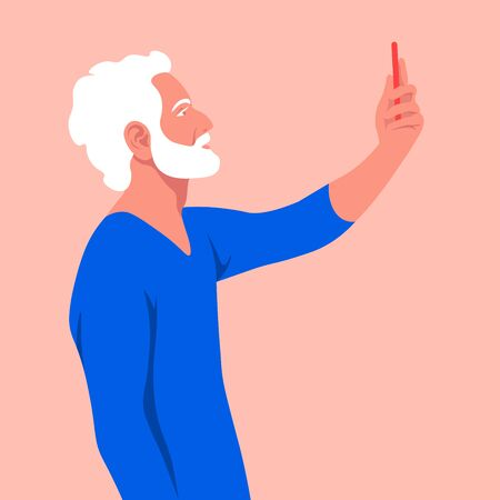An old man takes a selfie and holds his smartphone in his hand. A grandfather is photographed for a social network. Vector flat illustration