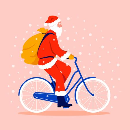 Santa Claus rides a bicycle with a bag of gifts under snowfall. Christmas Winter Vector flat illustration