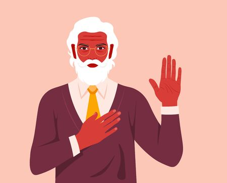 Old man swears an oath. Serious businessman makes sincere promise, keeps one hand on heart, raises palm, demonstrates loyalty gesture being honest. Vector flat illustration