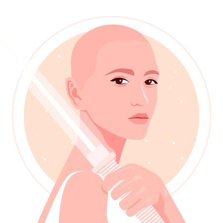 A bald girl holds a sword in her hand. Portrait of a girl with guns on the background of space and starry sky. Fencing. Vector flat illustration  イラスト・ベクター素材