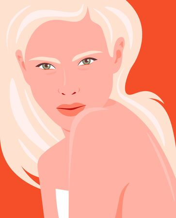 Portrait of a young and beautiful woman. The girl is blonde. Fashion and beauty. Bright vector illustration in flat style