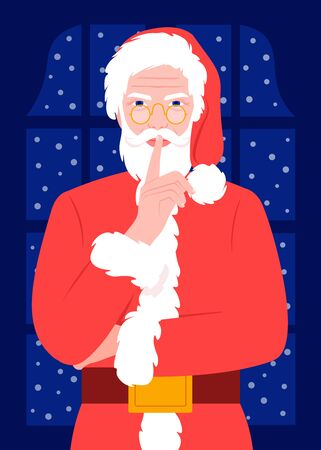 Santa Claus holds a finger at his mouth. Gesture of silence. Serious elderly man in a Christmas costume. Secret Vector flat illustration