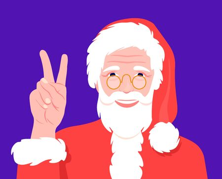 Santa Claus with glasses smiles and shows a victory sign. Happy Christmas and New Year. Grandfather in carnival costume. Vector flat illustration  イラスト・ベクター素材