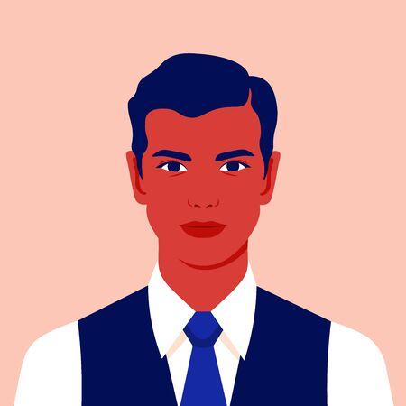 Portrait of a businessman. Avatar of a young man for social network. Colorful portrait. Manager Vector flat illustration