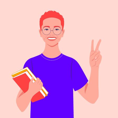 A redheaded guy smiles and shows a victory sign. Happy student with books. Hand gesture. Vector flat illustration