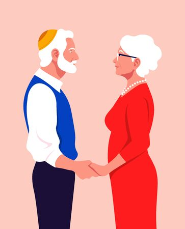 A pair of old people are in profile and hold each others hands. Love and date. Grandfather and grandmother. Family and caring. Anniversary Vector flat illustration Çizim
