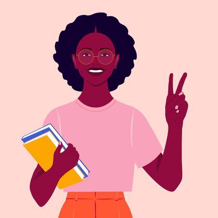Una niña africana sonríe y muestra un signo de victoria. Estudiante feliz con libros. Gesto manual. Ilustración vectorial plana Ilustración de vector