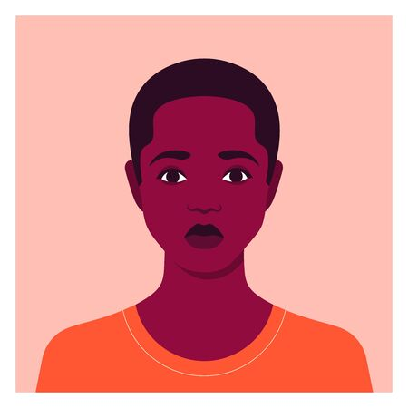 Portrait of a sad boy. Schoolboy avatar. Face of an African child. An orphan. Vector flat illustration  イラスト・ベクター素材