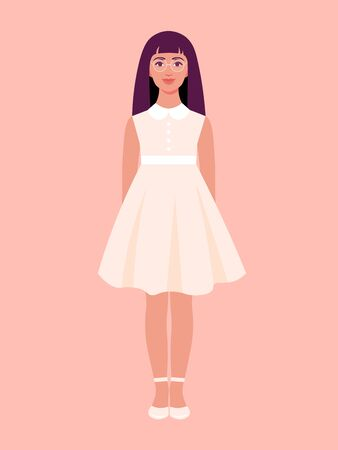A girl is standing in a festive summer dress and smiling. Schoolgirl on vacation. Vector flat illustration