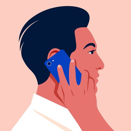 The profile of oriental guy. Businessman with smartphone. Avatar of the Asian man. Vector flat illustration