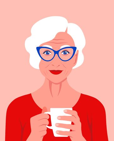 An elderly woman holds a cup in her hands and smiles. Psychology Rest at home. Vector flat illustration  イラスト・ベクター素材