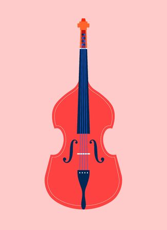 Double bass. String instruments of classical and jazz music. Orchestra. Vector flat illustration  イラスト・ベクター素材