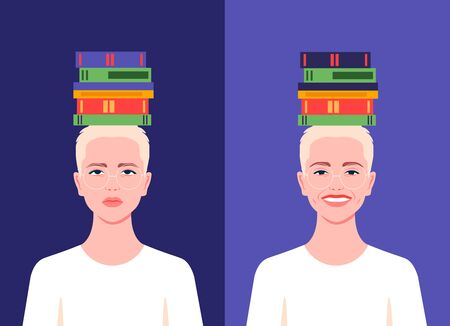 The student with books on his head is sad and cheerful. Difficulty in preparing for exams. Successful studies at school, college and university. Vector flat illustration  イラスト・ベクター素材