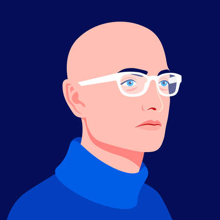Portrait of a young bald man in a half-turn. Professional avatar for a social network. Head of a businessman in stylish glasses. Vector flat illustration