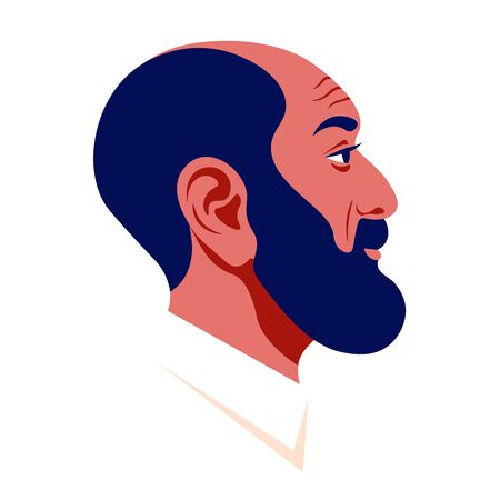 The head of a bald man with a dark beard in profile. Arab businessman face side view. Avatar for social networks. Vector flat illustration