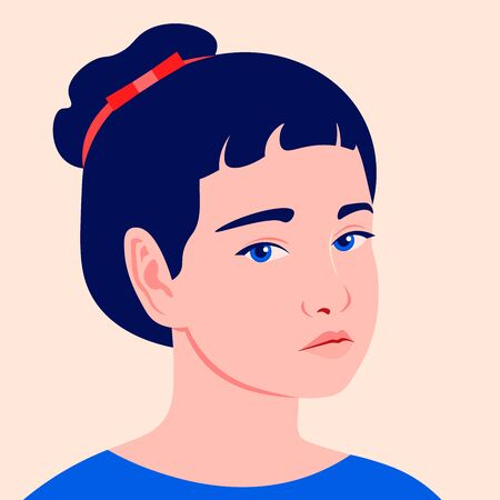 Portrait of a sad little girl. Preschoolers. Avatar of a child. Vector flat illustration