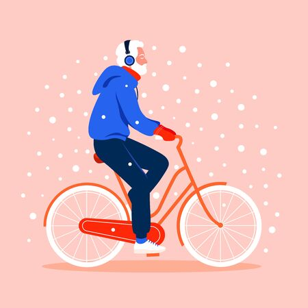 An old man rides a bicycle under snowfall. Winter sport. Grandfather. Vector flat illustration