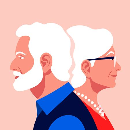 The old lovers. Elderly couple. Love and dating. Family relationship. Vector flat illustration