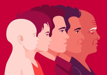 The head of a man of different ages in profile. Child and adult face side view. Childhood, youth and old age. Vector flat illustration