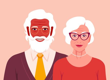 Grandfather and grandmother are smiling. Portrait of happy old people. Retired couple. Vector flat illustration  イラスト・ベクター素材