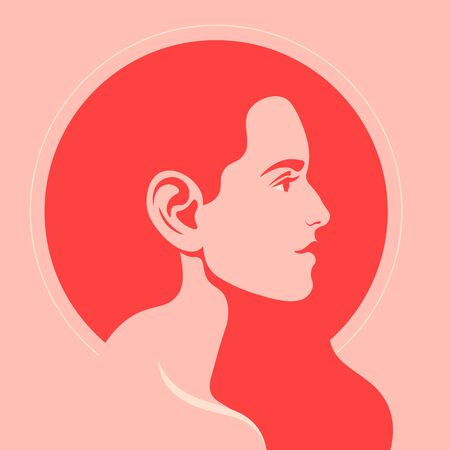Profile of a red-haired girl. Female face on the side. Bright avatar for a social network. Vector flat illustration