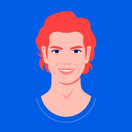 Portrait of a redhead man. Avatar of a guy. Colorful portrait. Student of the university. Vector flat illustration