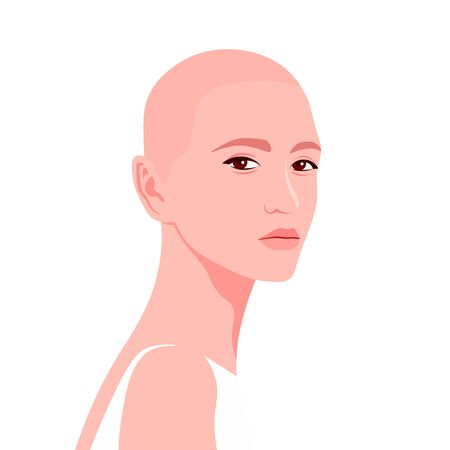 Portrait of a young caucasian woman. The bald girl is model. Fashion and alopecia. Bright vector illustration in flat style