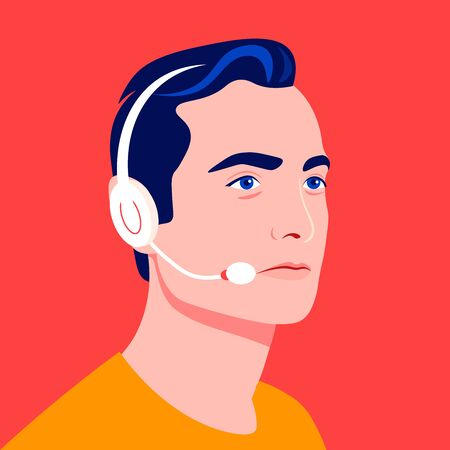 Portrait of a male call center operator. Technical Support Officer. Sales Manager Bright vector illustration in flat style.