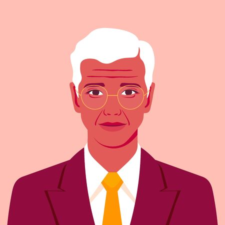 Portrait of an old businessman in a suit with a tie. Avatar of grandfather. Vector illustration in flat style