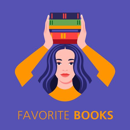 Portrait of a young woman with books in her hands over her head. Bookstore and library. A successful student on the eve of the exams at school, college and university. Bright vector flat illustration Vector flat illustration