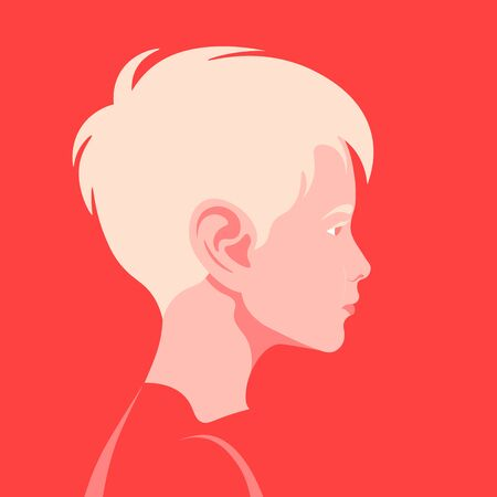 Head of a little European boy in profile. The face of a happy child on the side. Portrait. Avatar Vector flat illustration