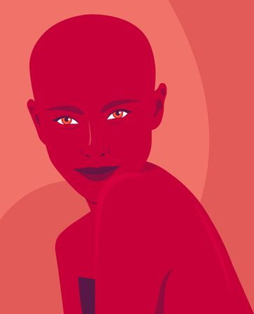 Portrait of a young bald woman. Fashion and alopecia. Bright vector illustration in flat style.