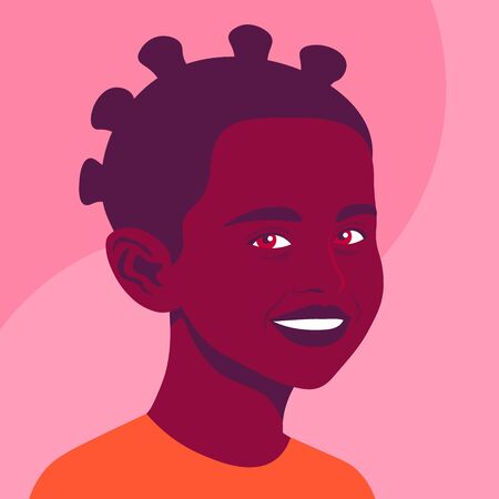 Portrait of a happy African girl. The face of a smiling child. Avatar of a schoolgirl. Vector flat illustration  イラスト・ベクター素材
