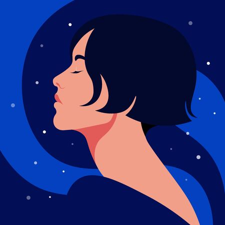 Portrait of a relaxed adult girl with closed eyes. Profile of a young woman on starlight night. Summer holidays. Vector illustration in flat style  イラスト・ベクター素材