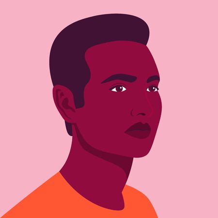 Portrait of a young African man. Avatar of an American guy for social network. Colorful portrait. Student of the university. Vector flat illustration